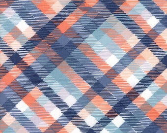 Midnight Garden Fabric // Navy and Coral Tartan Plaid Quilting Fabric  // 1canoe2 // cotton quilting