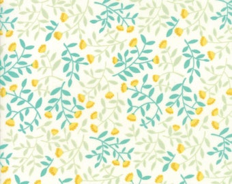Midnight Garden Fabric // White Little Blossoms Quilting Fabric  // 1canoe2 // cotton quilting