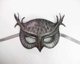 Ghostly Grey Owl Leather Mask  wearable art costume Halloween