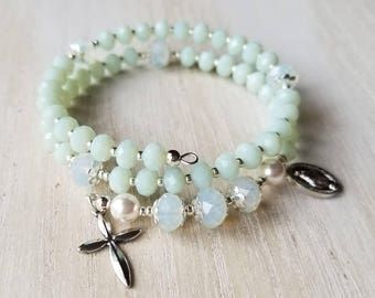 Rosary bracelet for women, beaded wrap bracelet, prayer beads, godmother gift, catholic jewelry, mothers day gift mom gifts from daughter