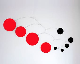 MOD MOBILE in Red & Black - 3 SIZES Available - Groovy Retro Mid Century Calder Inspired Hanging Modern Art - Home Decor Mobiles