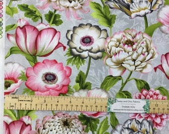 New ~ Large Florals Light Grey Color ~ Tivoli Garden by Anne Rowan for Wilmington Prints, Quilt Cotton, Easter, Spring Fabric