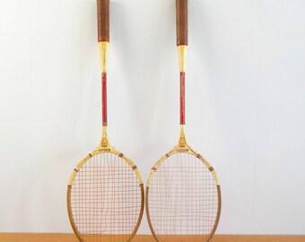 Vintage Wilson Badminton Rackets • Pair of Shabby Vintage Badminton Rackets • Wilson Comet Wood Rackets