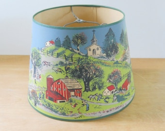 Vintage Painted Paper Lamp Shade • Vintage Painted Country Scene Lamp Shade