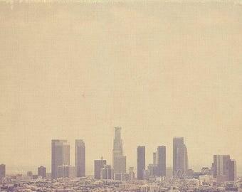 Clearance sale, LA skyline photo, LA photography, Los Angeles photograph, Southland, downtown Los Angeles print, gray decor, loft, 5x5