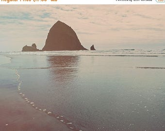 SALE Haystack Rock photo, Cannon Beach art print, seascape photography, blue wall art, beach photograph, Oregon Coast decor, girls room deco