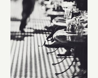SALE San Francisco photography, cafe photo, black and white photograph, checkerboard, restaurant, kitchen decor, California, food, city deco