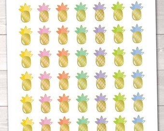 35% OFF SALE Pineapple Planner Stickers Instant Download Printable Gold Foil Pineapple Planner Sticker PDF