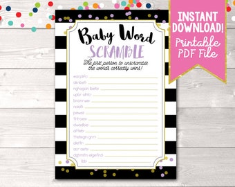 Instant Download Baby Word Scramble Printable PDF with Black Stripes & Purple and Gold Polka Dots Baby Shower Game
