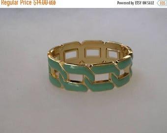 ON SALE Lovely Gold tone Blue Enamel Hinged Bangle Bracelet