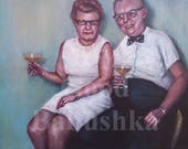 Couple with Cocktails, Original Painting, Party People, Portrait, Fun, Retro, Middle Age, Drinks, 1960s, Mid Century, Night Out,  Cheers