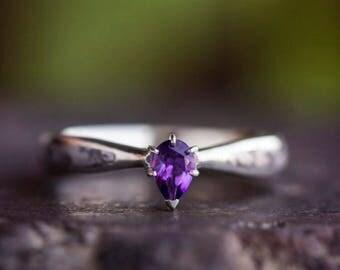 Purple Amethyst Engagement Ring With Seymchan Meteorite In Sterling Silver, Amethyst Solitaire