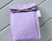 ON SALE Light Purple Organic Lunch Bag - Organic Cotton, Eco Friendly, Fully Insulated - Back to School Waste Free