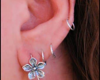 Flower Hook Earrings in Sterling Silver