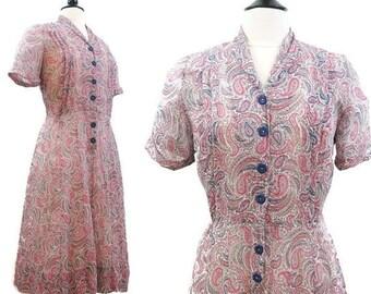 REDUCED Vintage 40s 50s Dress Sheer Rayon Pink Blue Paisley Print Shirtwaist Day Dress M