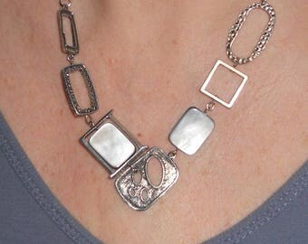 Silver bib necklace, mother of pearl necklace, summer necklace, asymmetric necklace,  metal jewelry, funky jewelry