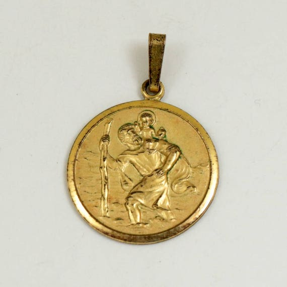 Vintage Rolled Gold St Christopher Medal Pendant by Andreas Daub Germany
