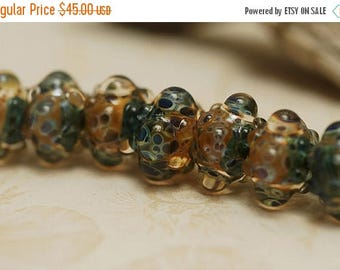 ON SALE 35% OFF Handmade Glass Lampwork Bead Sets - Seven Blue & Orange Borosilicate Rondelle Beads - 10409401
