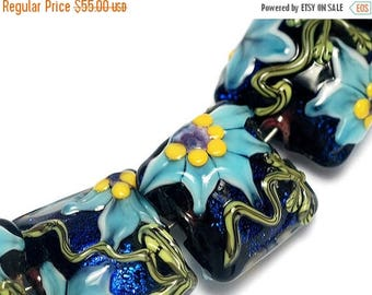 ON SALE 35% OFF Glass Lampwork Beads Set 10411204 - Seven Pillow Beads - Azure's Elegance