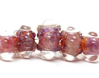 ON SALE 30% off Handmade Glass  Lampwork Beads - Five Graduated Orange & Purple Rondelle Beads 10601611