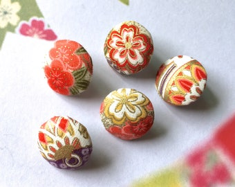 "Handmade Small Japanese Oriental Blossom Beige Red Gold White Floral Flowers Fabric Covered Buttons, Flat Backs, 0.75"" 5's"