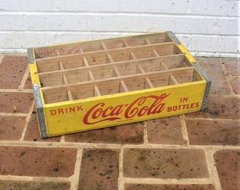 Vintage Wooden Coca Cola Crate  Vintage Yellow and Red Coca Cola Crate 1960