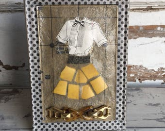Original Collage Dress - Broken China Mosaic - Yellow Party Dress and Shoes- Mixed Media Art - Picture