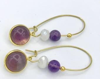 Long dangly Amethyst earrings, boho jewelry, February birthstone earrings