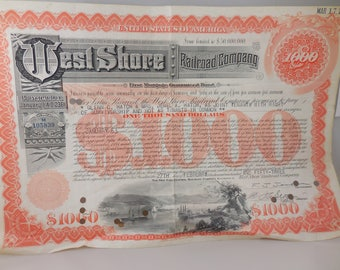 Vintage West Shore Railroad Company Bond May 17 1961