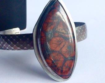 Poppy Jasper Cuff Bracelet - 25th Anniversary Gift