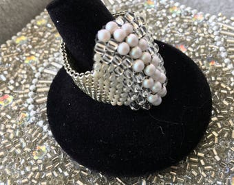 Handwoven Custom Made Swarovski White Pearl Ring, Silver and Pearl Ring Band, Custom Made Handwoven Rings, Custom Jewelry, Irish Expressions