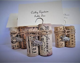 Wine Cork Place Card Holder Menu & Table Number Holder Twine Wine Bottle Charm Wedding Reception Dinner Party Wine Event Rustic Party Favor