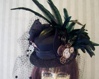 Black Steampunk Mini Top Hat, Victorian Hat, Cosplay Mini Top Hat, Fascinator, Wedding Mini Top Hat, Halloween Hat