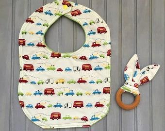 Baby Gift Set- Bib and Teething Ring- Cars- Vehicles Bib and Teething Ring Set