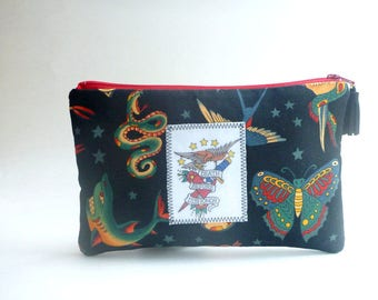 Sailor Jerry tattoo wallet clutch/vintage tattoo/wristlet/pencil case/Rockabilly bag/cosmetic bag/coin pouch/gift for her/tattoo flash
