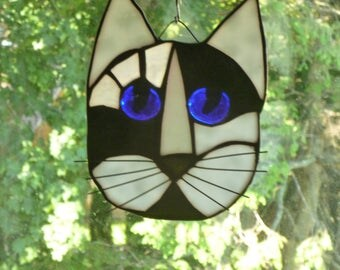 Cat Face Stained Glass  in Beautiful black and white Brilliant Blue eyes