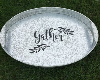 Personalized Galvanized Tray / Gather Tray / Fall Tray /Outdoor Beverage Tray / Tailgating Tray / Thanksgiving Tray / Gift Tray / mad4plaid