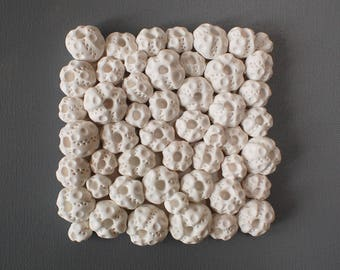 Sea Urchins Wall Sculpture - Coral Reef White Clay Wall Art Tile Beach House Wall Decoration Textured Ocean Inspired