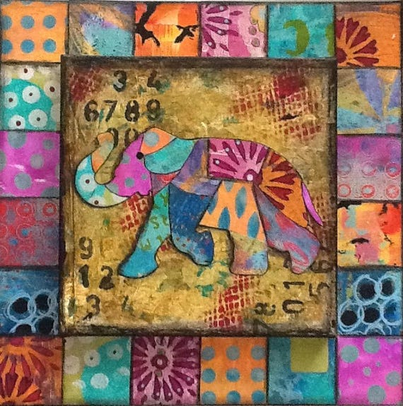 SALE Original Mixed Media Double Canvas Painting Wall Art Wall Decor Elephant Colorful Vibrant Collage