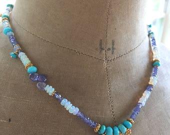 Boho Luxe Ethiopian Opal Multi Gemstone Necklace
