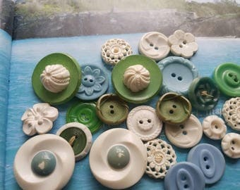 Vintage Buttons - Cottage chic mix of blue, white, green of 24 old and sweet(june 213-17)