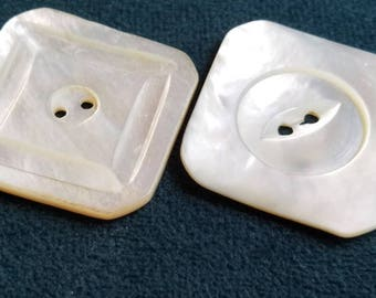 Vintage Buttons - Amazing mother of pearl large matching carved assorted square designs,  (july 203 17)