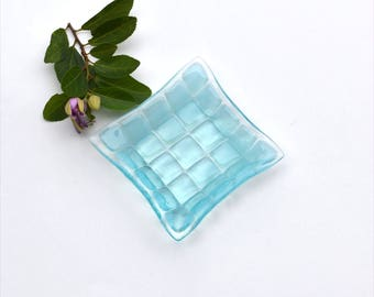 Small fused glass art plate, squares in aquamarine blue