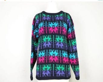 ON SALE Vintage Black Pink Purple Turquoise Green Snowflake Pattern Sweater Misses S M 80s Brass Plum Nordstrom