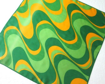 Vintage Scarf, Green and Gold Swirl Design on Acetate Scarf, Sally Gee Scarf, Square Scarf, 50s/60s Scarf
