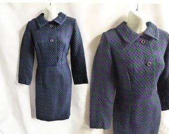 Vintage 60s Dress Size M L Purple Teal Boucle Mod Wiggle Shift Secretary 50s