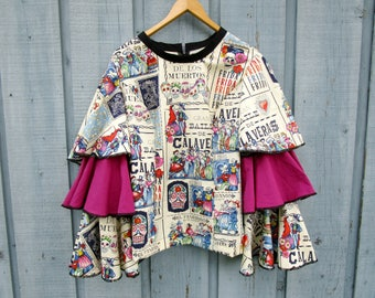 Day of the Dead Bell Sleeve Top// Baile de Calaveras// Large// emmevielle