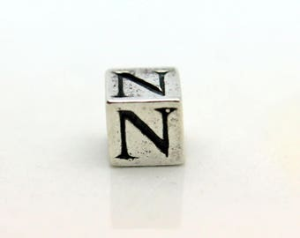 Sterling Silver Alphabet N Block Cube Square Bead 5.5mm Large Hole