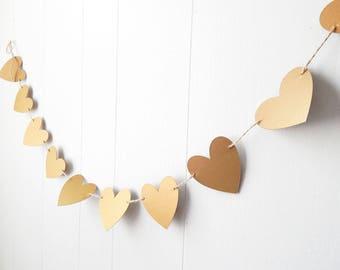 Rustic Antique Gold Heart Garland -Wedding - Rustic Decor - Love Bunting - Photo Prop