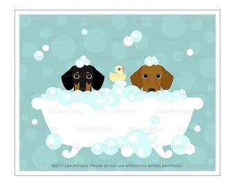 209D Dog Print - Dachshund Dogs in Bubble Bath Wall Art - Dog Wall Art - Dachshund Print - Doxie Art Print - Dog Bath Art - Wiener Dog Art